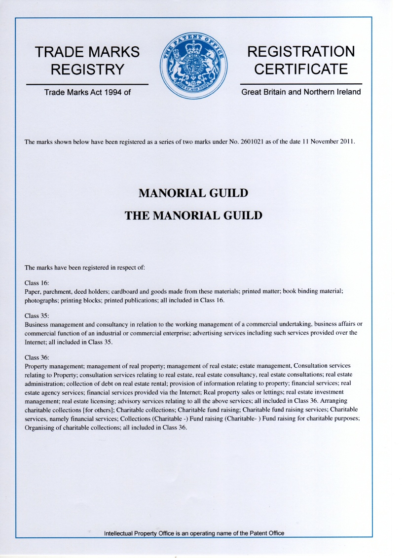 Manorial Guild Registration Certificate
